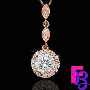 2 CT Round Brilliant Rose Gold Pendant & Chain